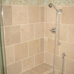 Shower tile with glass border